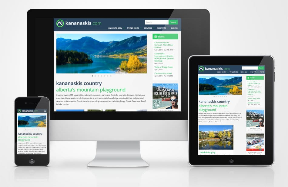 Kananaskis.com website on different devices sizes